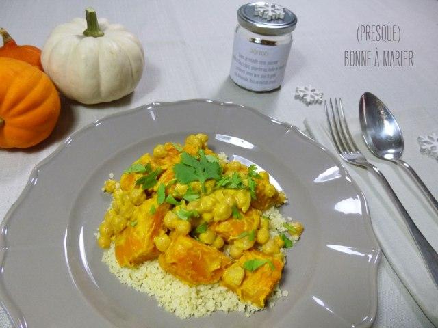 Curry de potimarron à la coco et semoule