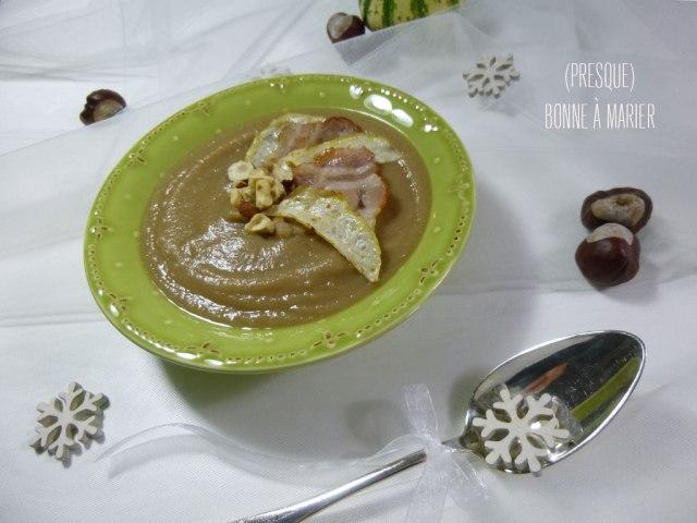 Potage de marrons au céleri et aux noisettes {Bataille Food #29}