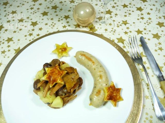 Boudin blanc et sa mêlée de pomme, marrons et girolles