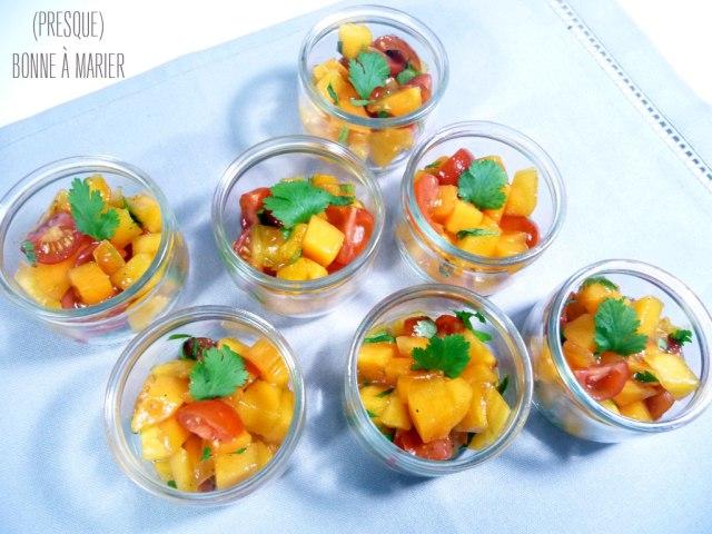 Salade sucrée salée aux kakis en verrines