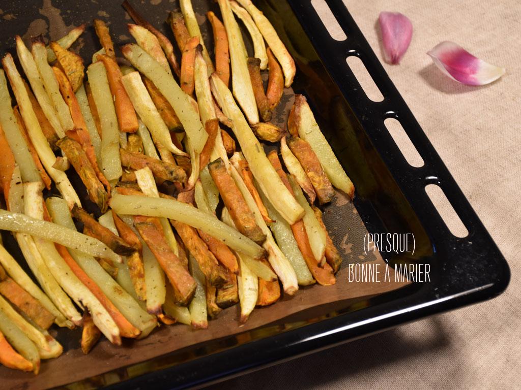 frites tricolores de pommes de terre patates douces et panais au four presque bonne marier. Black Bedroom Furniture Sets. Home Design Ideas
