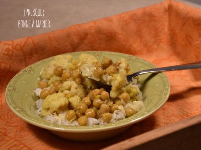 Gobi chana masala {chou-fleur et pois chiches à l'indienne}