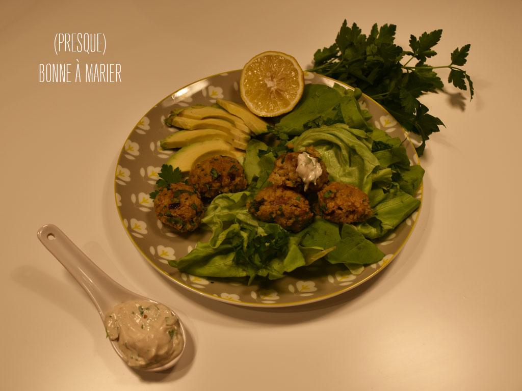 Falafels au four et leur sauce tahini {boulettes libanaises aux pois chiches}