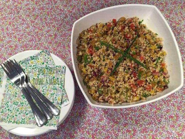 Salade boulgour quinoa aux petits légumes d'été