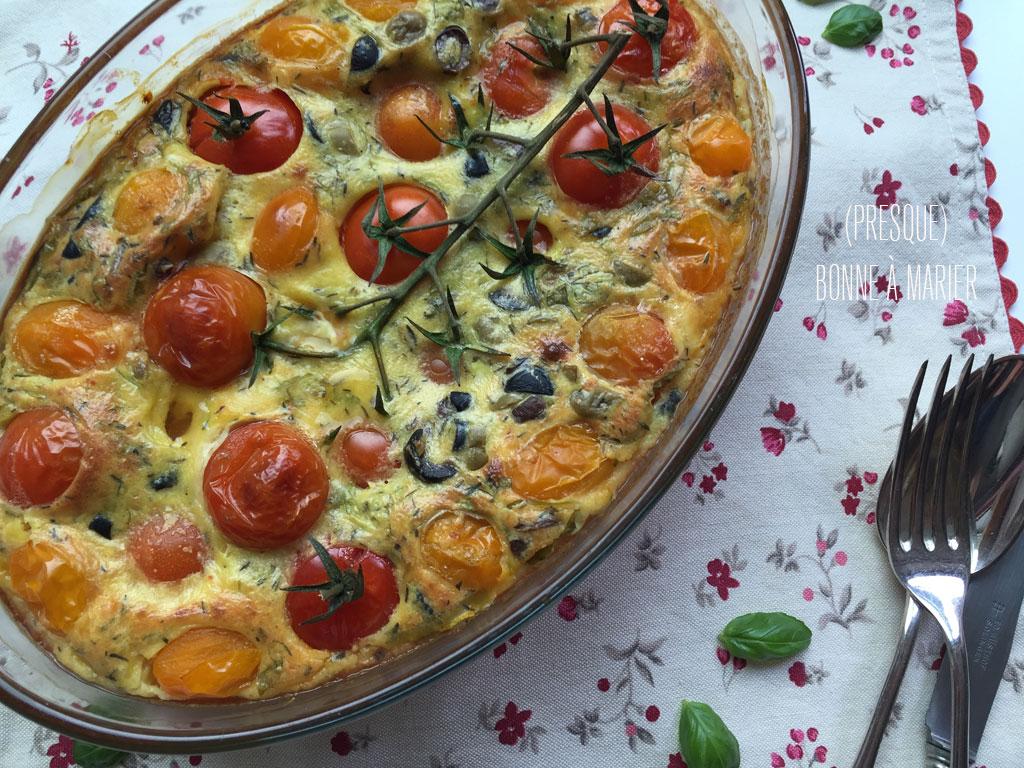 Clafoutis aux tomates cerise et aux olives