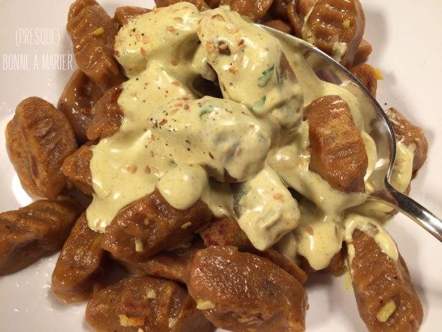 Gnocchis de patates douces sauce curry coco