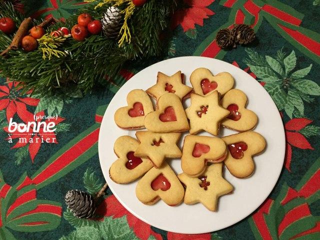 Bredele sablés de Noël à la gelée de framboises
