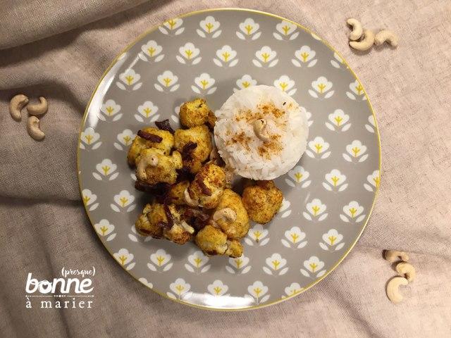 Chou-fleur rôti aux épices et aux noix de cajou