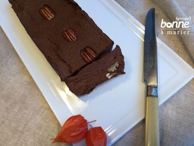 Ultra fondant très chocolat, potimarron et noix de pécan, sans gras, sans crème et sans œuf !