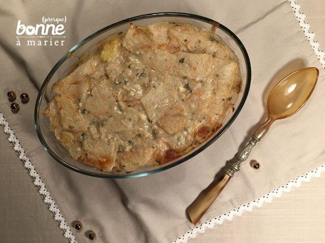 Gratin de céleri rave et pommes de terre au roquefort