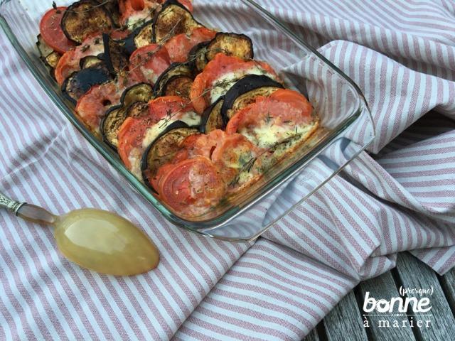 Tian aubergines, tomates et mozzarella