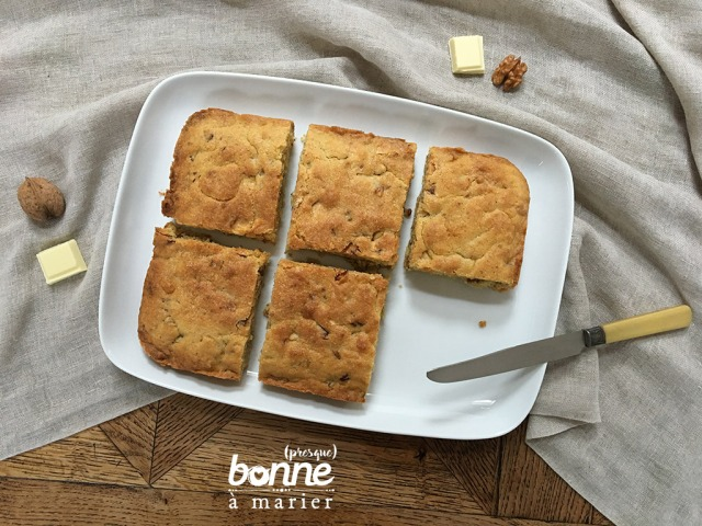 Blondies au chocolat blanc et noix