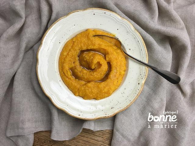 Purée de courge et polenta au sirop d'épices