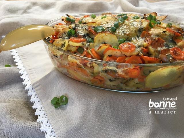 Gratin de panais, carottes et pommes de terre au roquefort