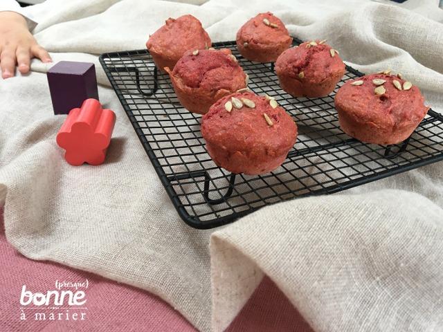 Muffins salés à la betterave rouge dès 12 mois