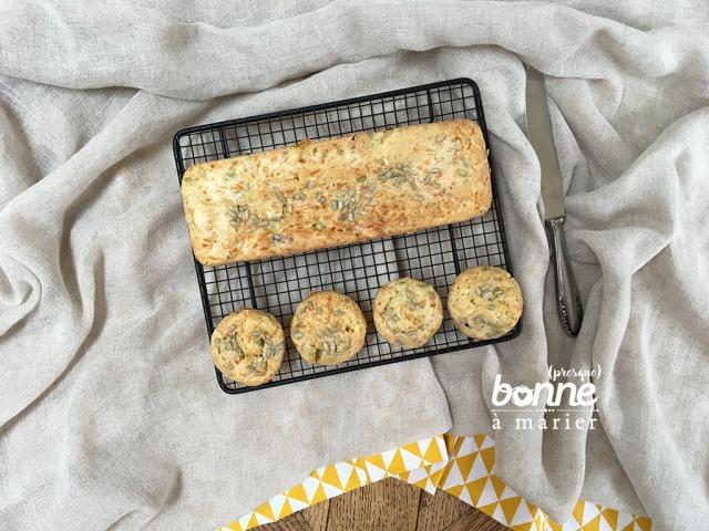 Muffins salés courgettes, feta et olives
