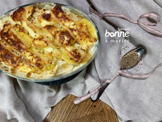 Gratin de céleri rave, pommes de terre et carottes au Munster géromé