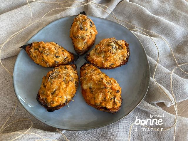 Patates douces farcies aux champignons