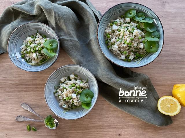 Salade d'orge perlé aux petits pois, feta et menthe